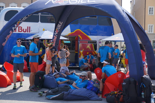Red Bull pre race tent Salzburg & With minutes to go athletes send final message to fans