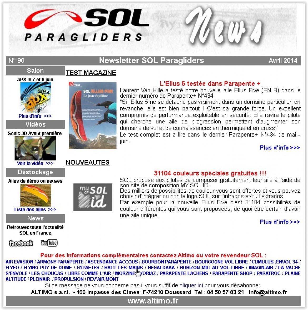 Parapentes SOL PARAGLIDERS : les news d'ALTIMO (avril 2014)