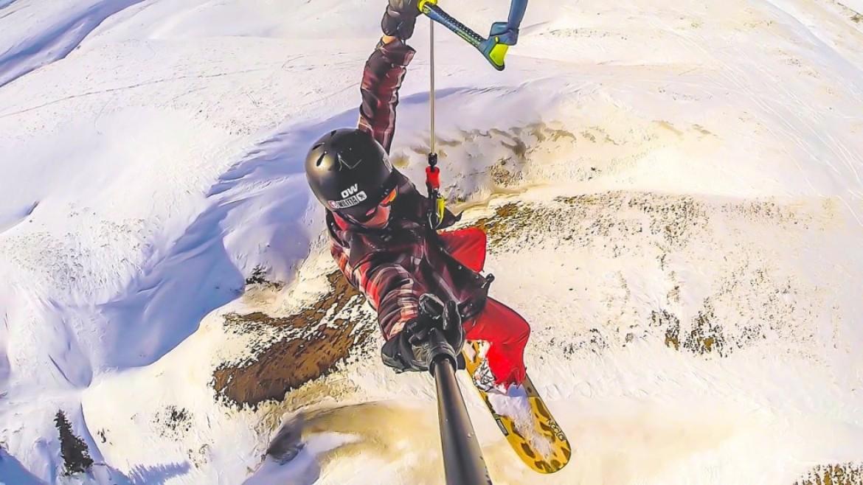 Superbes sessions de vol en snowkite à Big Horn (USA)