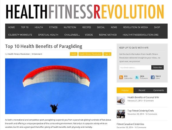 Fitness magazine says paragliding has health benefits