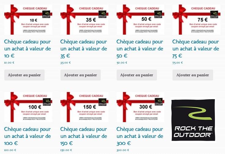 Chèques cadeau de 10 à 300 € boutique ROCK THE OUTDOOR