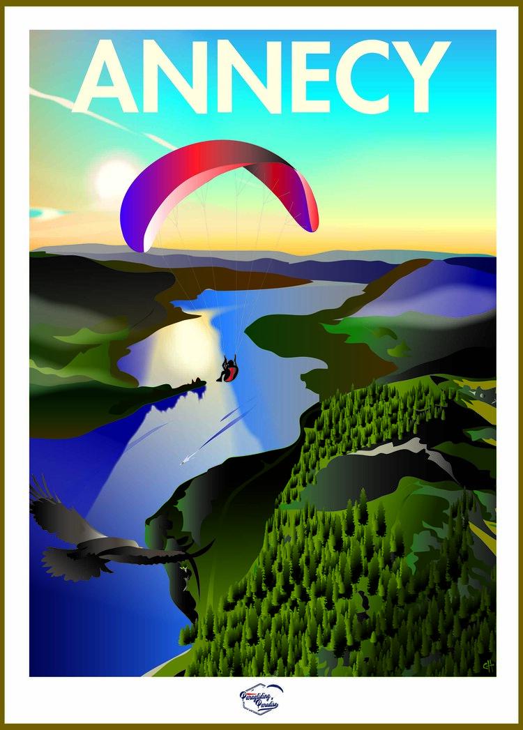 Poster parapente Lac d'annecy