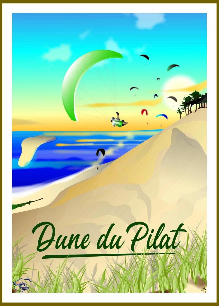 Poster parapente Dune du Pilat avec titre