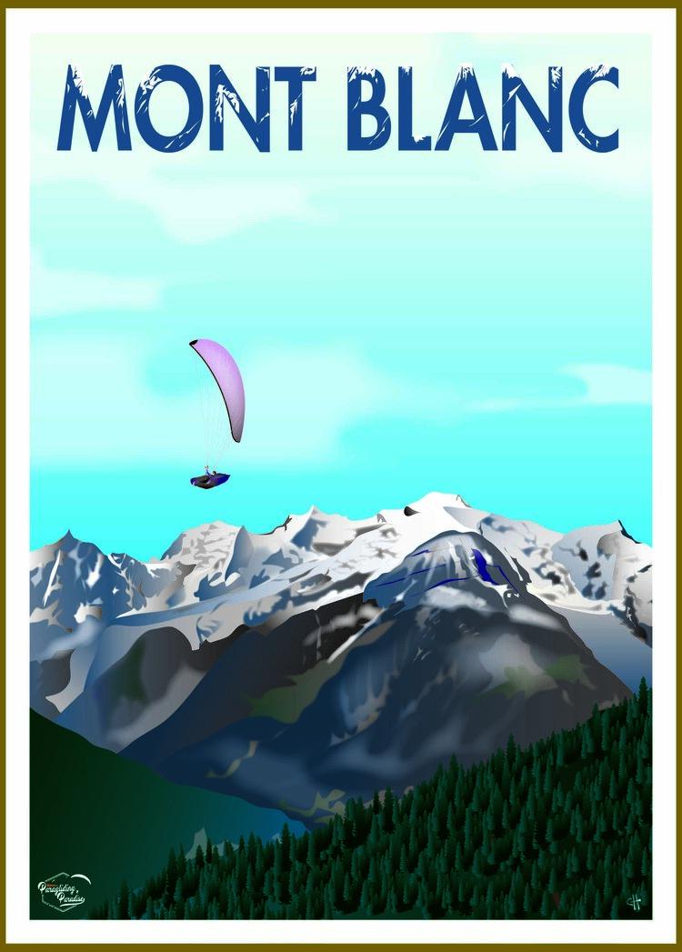 Poster parapente Mont Blanc