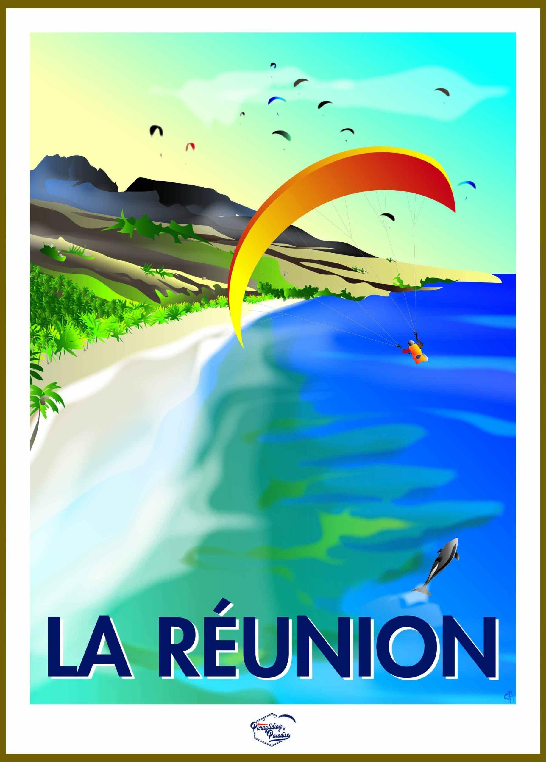 Poster parapente Reunion avec titre