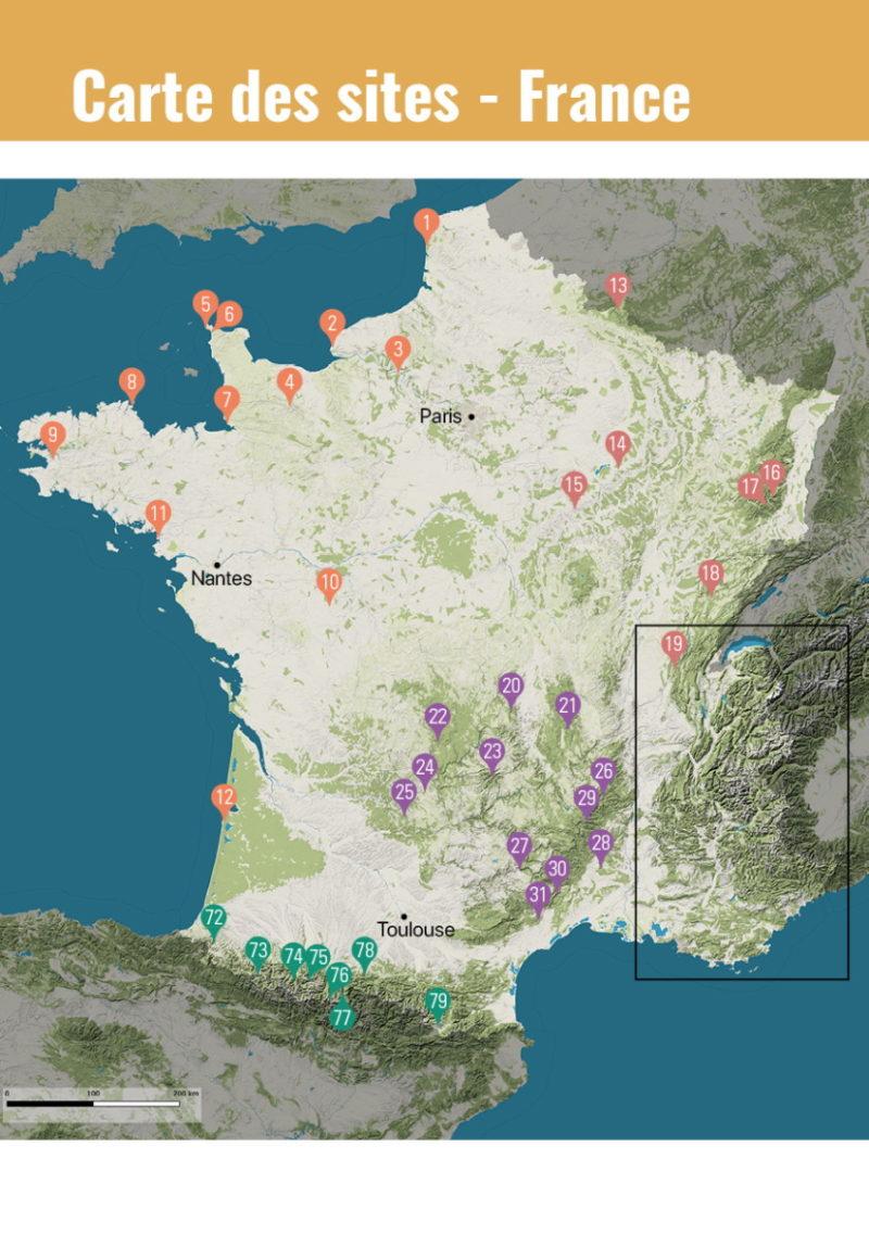 carte france Parapente en France