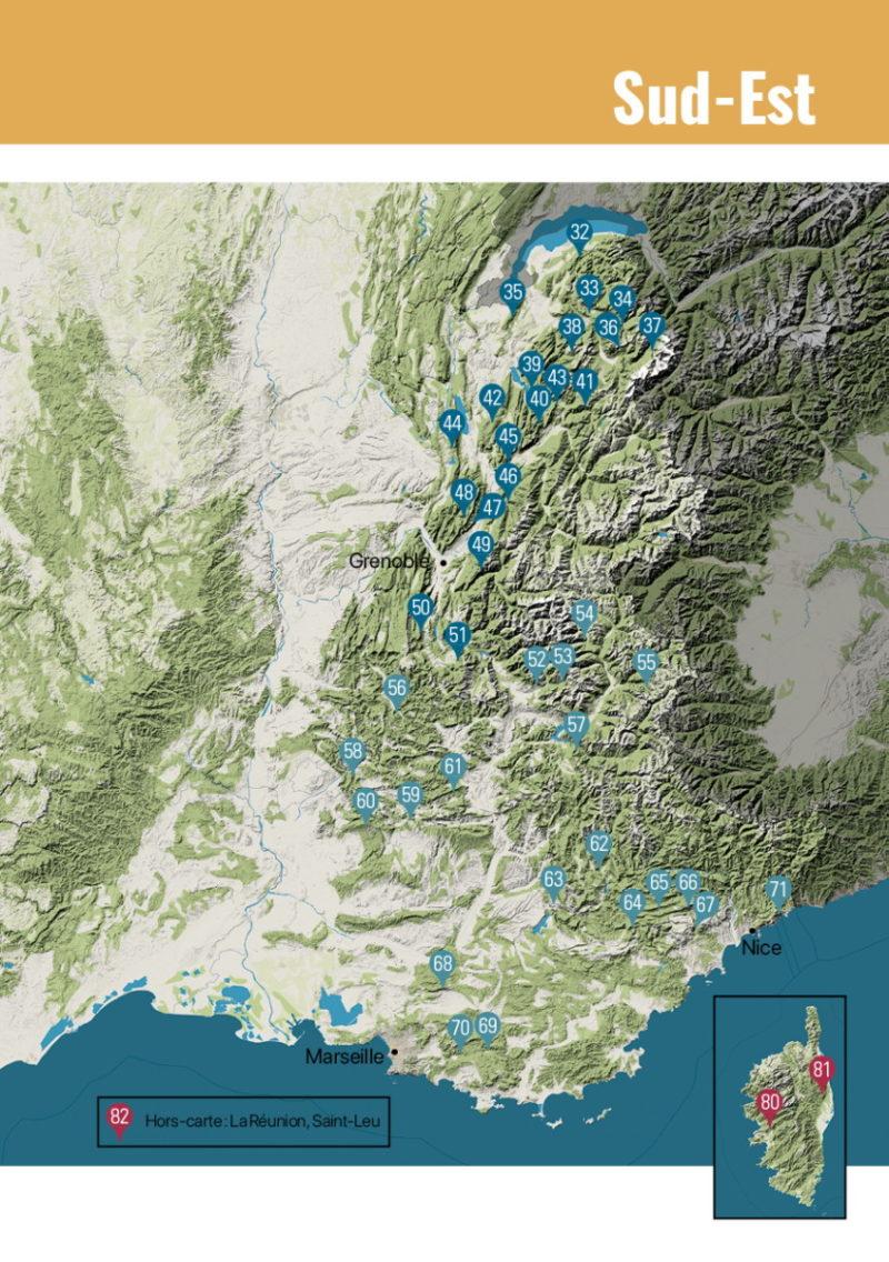 carte Sud est Parapente en France