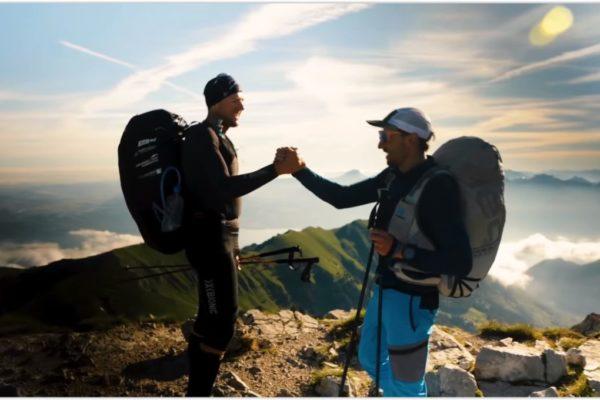 Chrigel et Maxime au départ vers le Mont Blanc