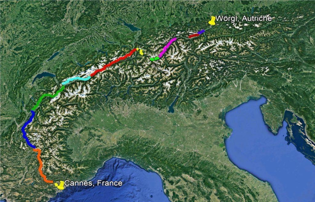 Traversée des Alpes au départ de Cannes par Antoine Fanin (1000 km)