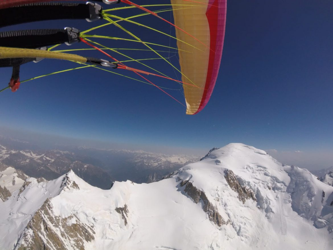 Ascension du Mont Blanc en biplace parapente par les faces nord