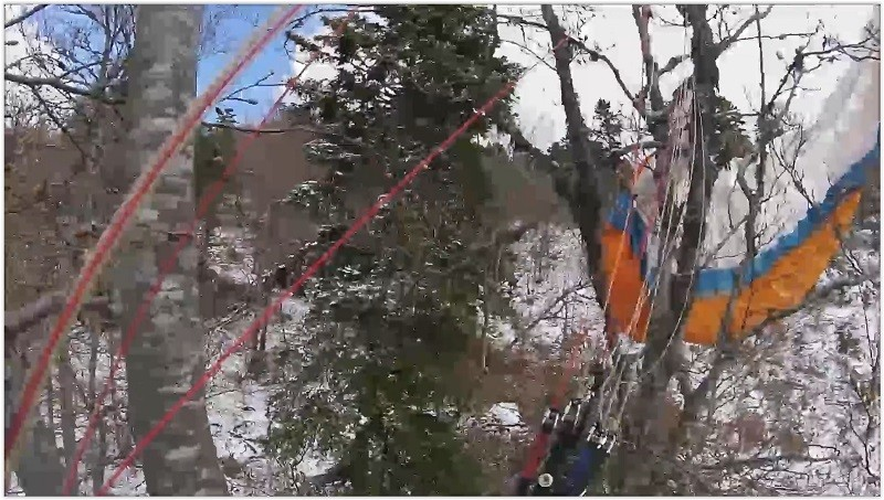 Bertrand se prend un vrac à 20 m du sol et finit dans les arbres
