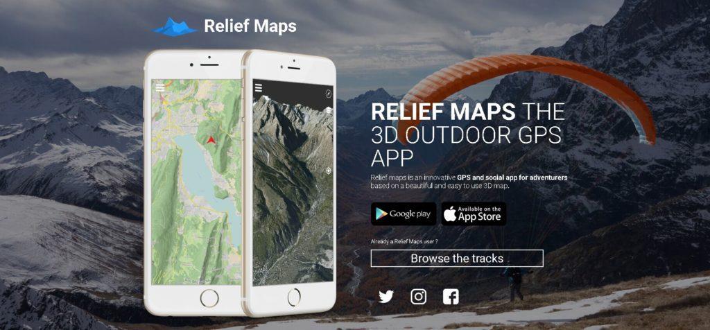 Relief maps, app GPS avec cartes relief pour visualiser votre parcours en 3D