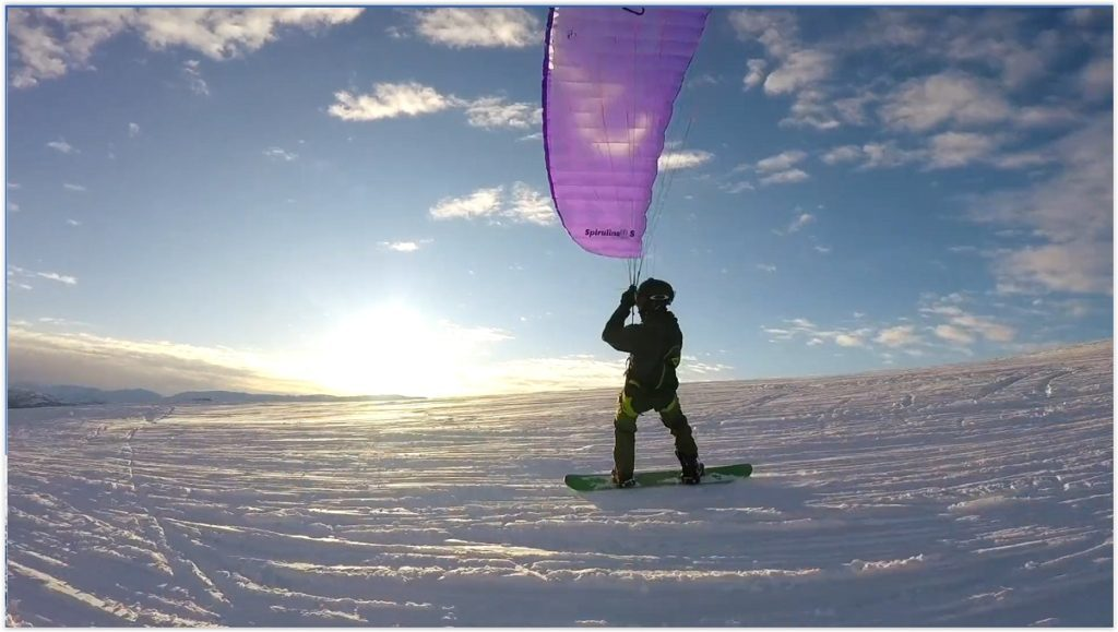 Session snowkiting/speedriding avec une Little Cloud Spiruline EZ
