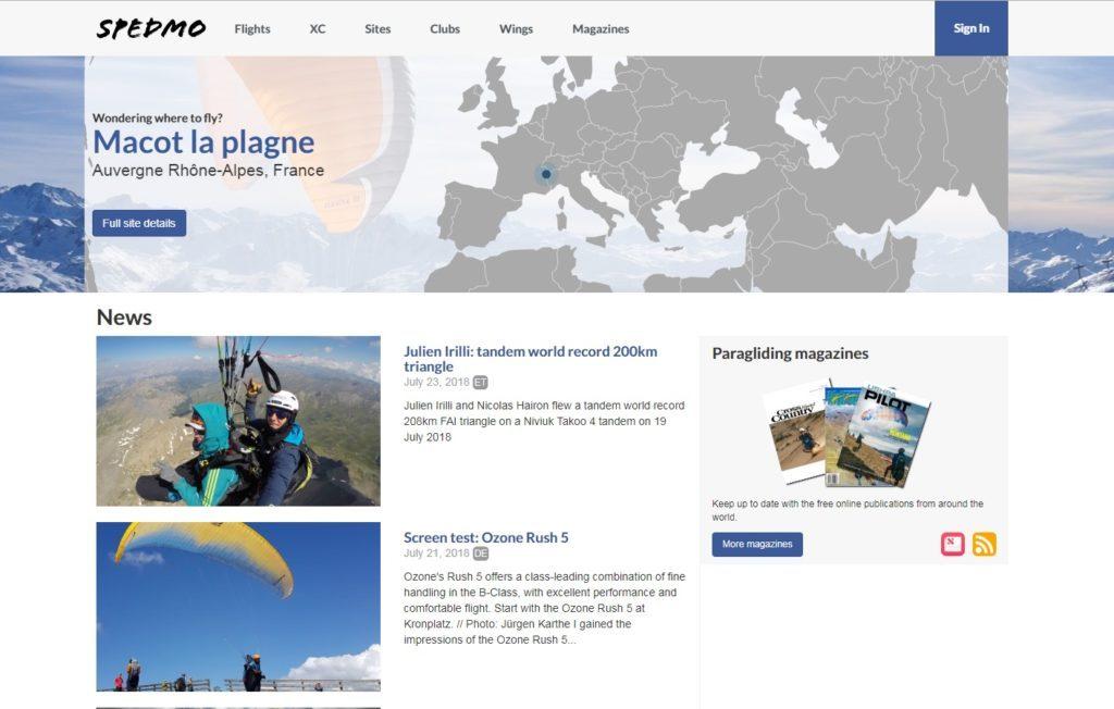 spedmo.com, nouveau portail d'infos et de services sur le parapente